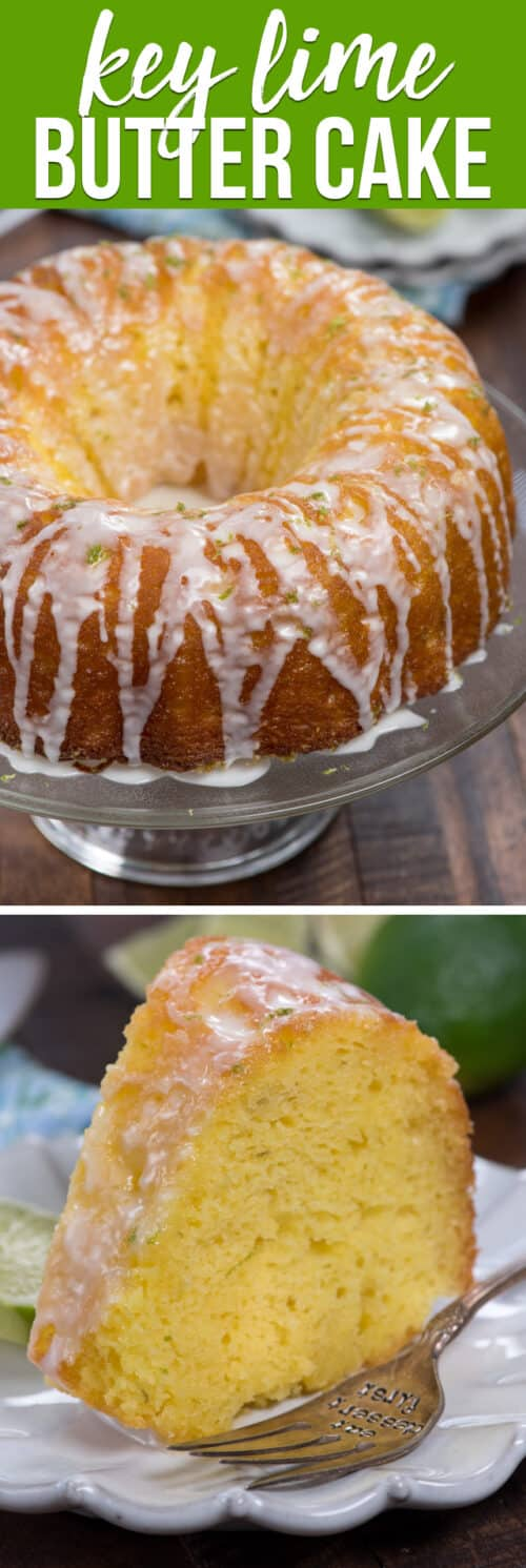 collage of key lime butter cake photos