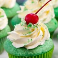 close up shot of shamrock shake cupcake