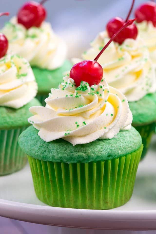 close up of shamrock shake cupcake