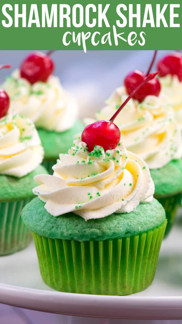 Make Shamrock Shake Cupcakes at home to remind you of your favorite St. Patrick's Day milkshake! Mint cupcakes topped with a vanilla milkshake frosting are perfect for any celebration.