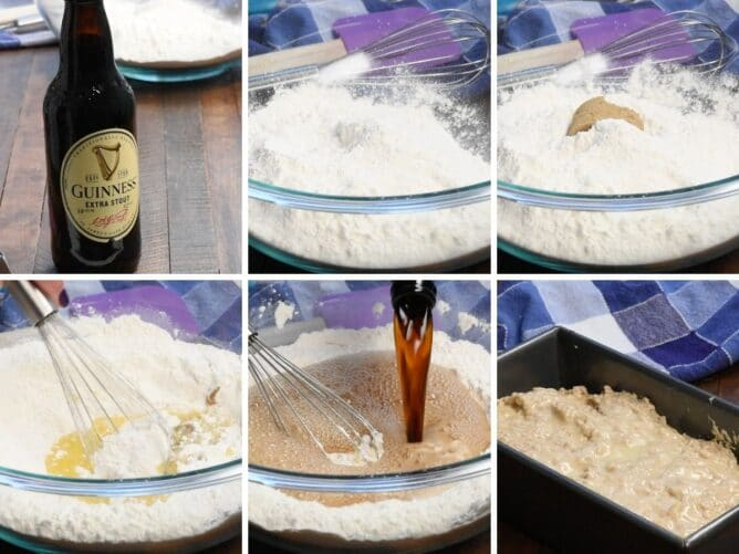 collage of 6 photos showing how to make the bread