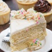 slice of white cake on white plate