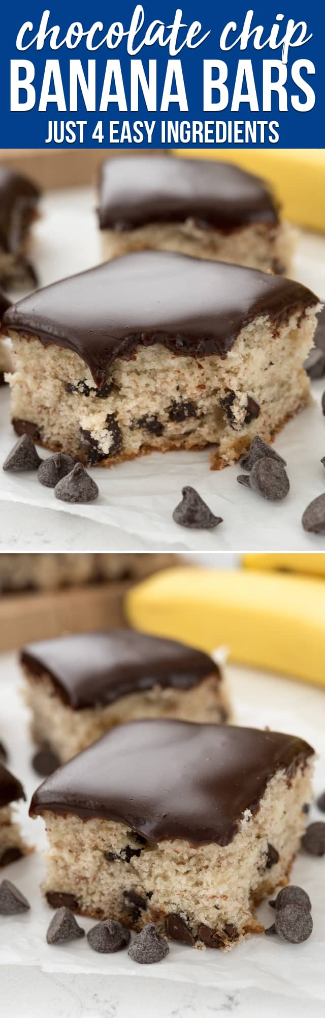 These Chocolate Chip Banana Bars are SO easy to make and have just 4 ingredients. They're great for using up overripe bananas! Add some chocolate and you have a delicious banana dessert recipe.