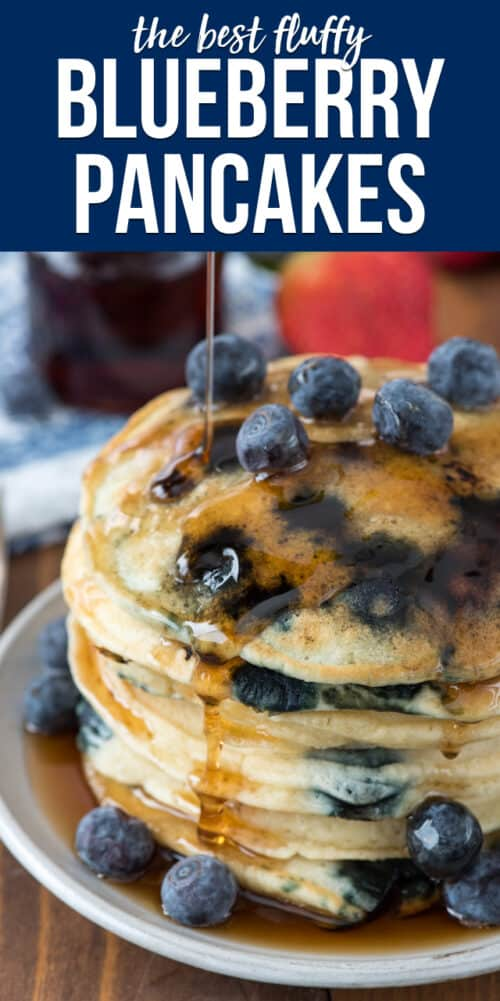 stack of blueberry pancakes on white plate