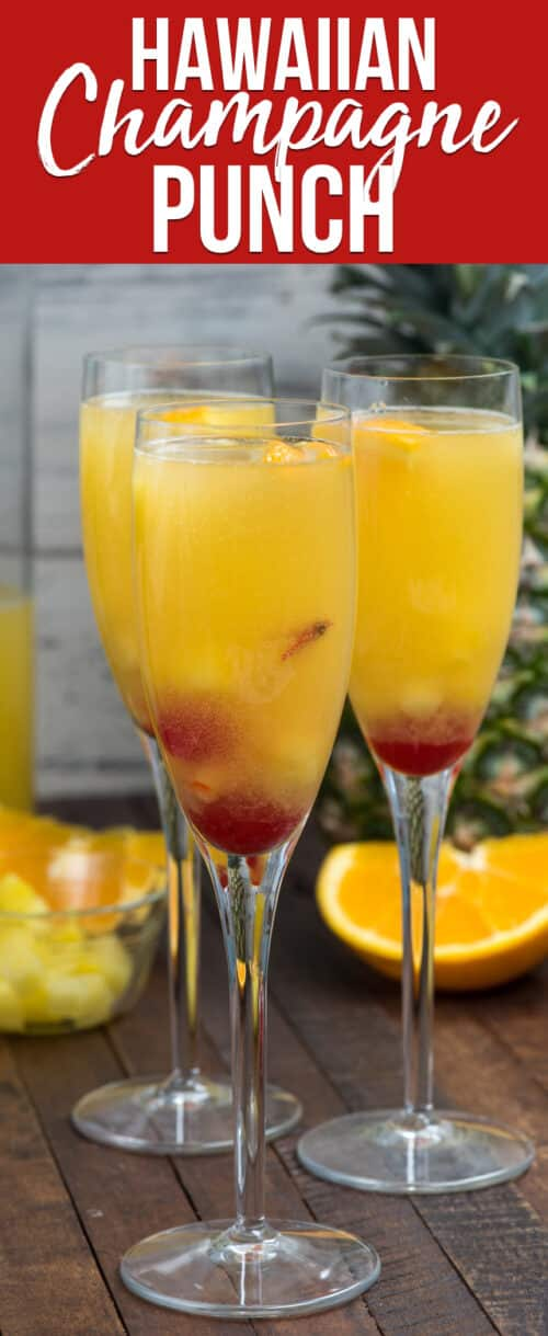 punch in champagne glasses