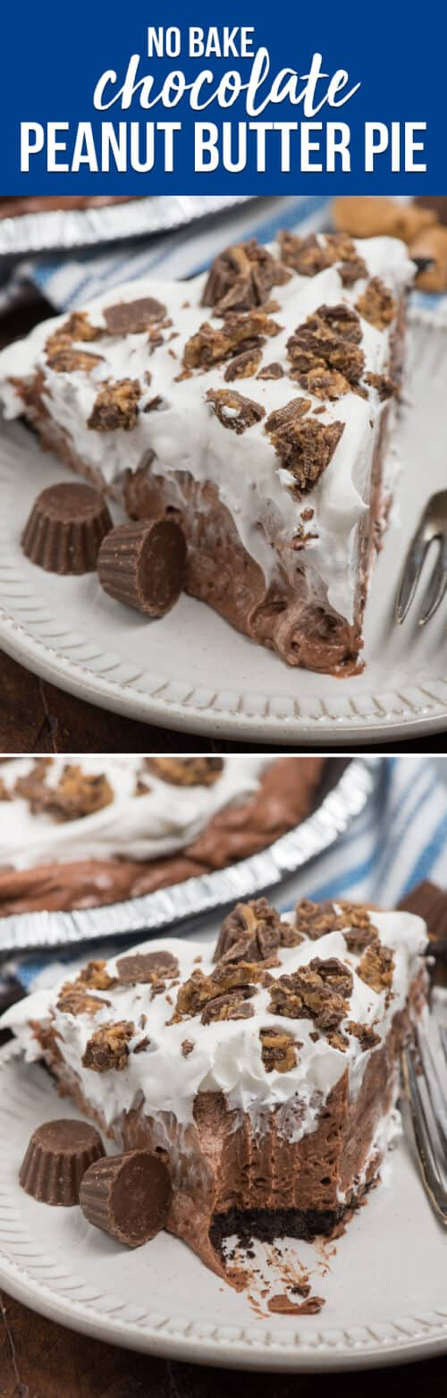 collage of chocolate peanut butter pie photos