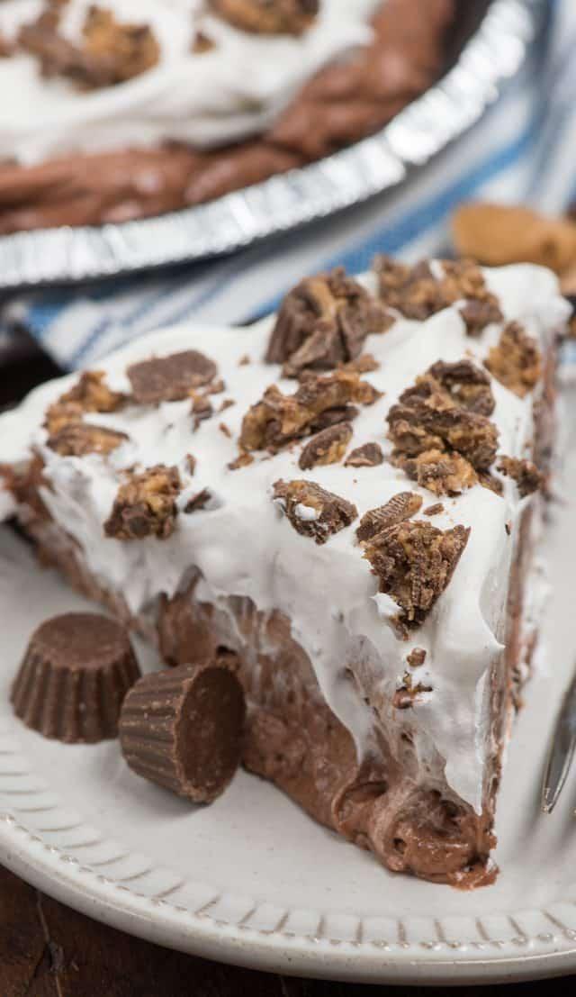 slice of chocolate pb pie on white plate