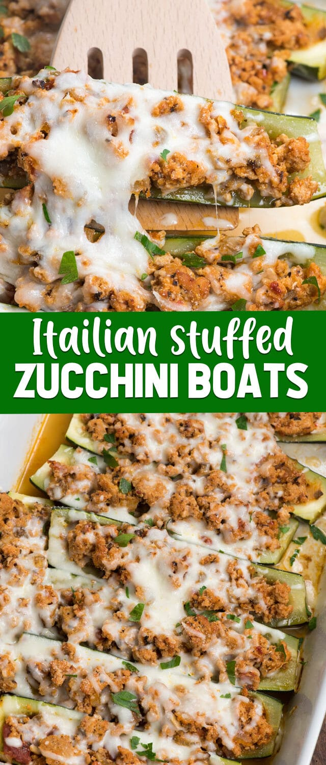 collage of stuffed zucchini boats