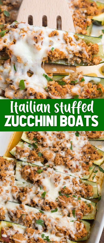 collage of stuffed zucchini boats