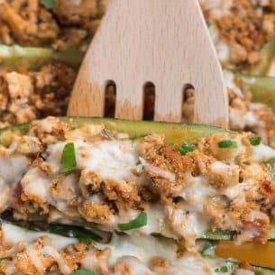 stuffed zucchini in pan