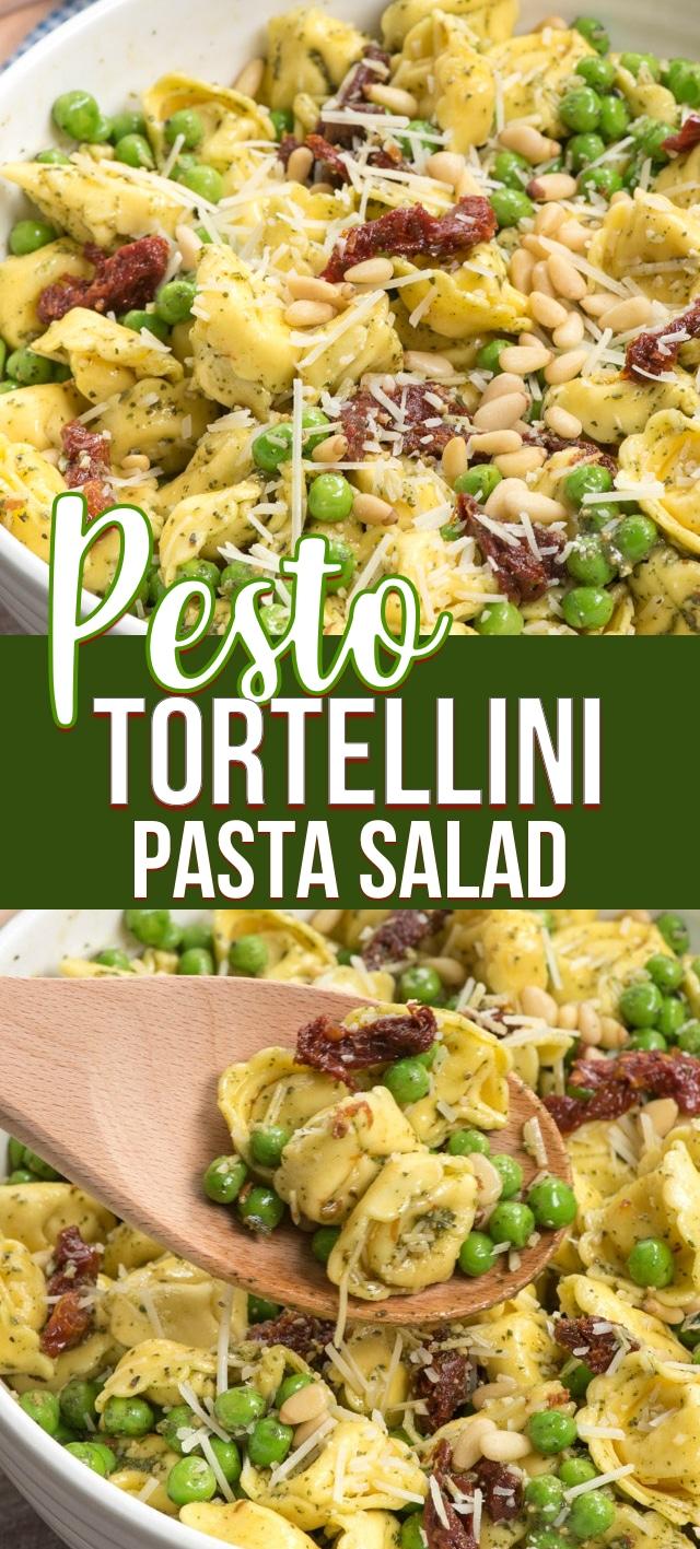 collage of pesto pasta salad recipe photos