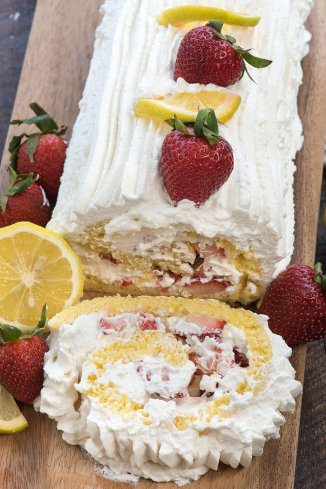 lemon strawberry shortcake cake roll sliced
