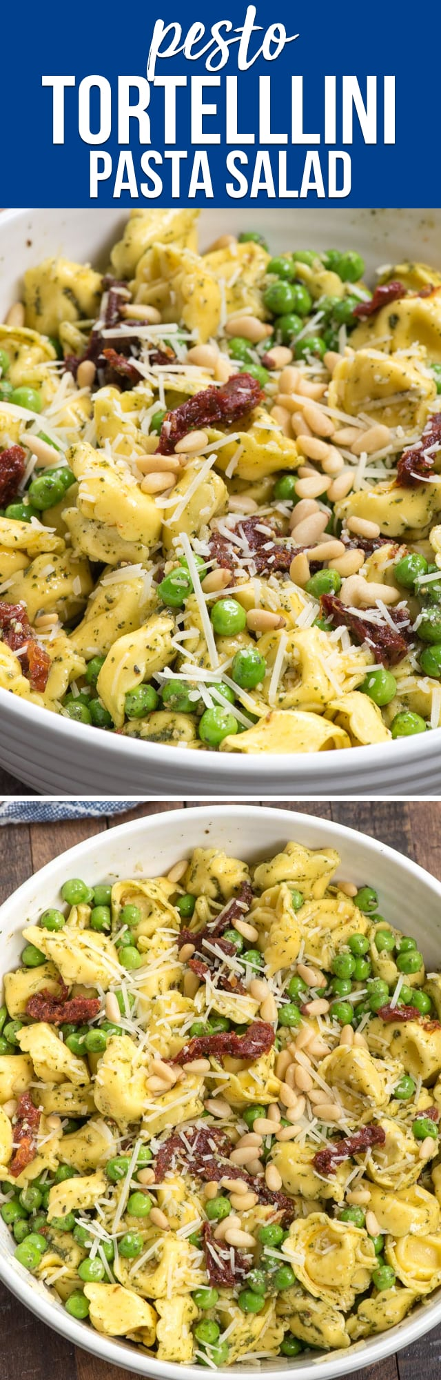 Pesto Tortellini Salad is the perfect pasta salad! Filled with cheese tortellini and peas it's coated with pesto and sun-dried tomatoes! Everyone always raves about this recipe!