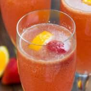 close up of pink mimosa punch