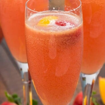pink mimosa punch in glass