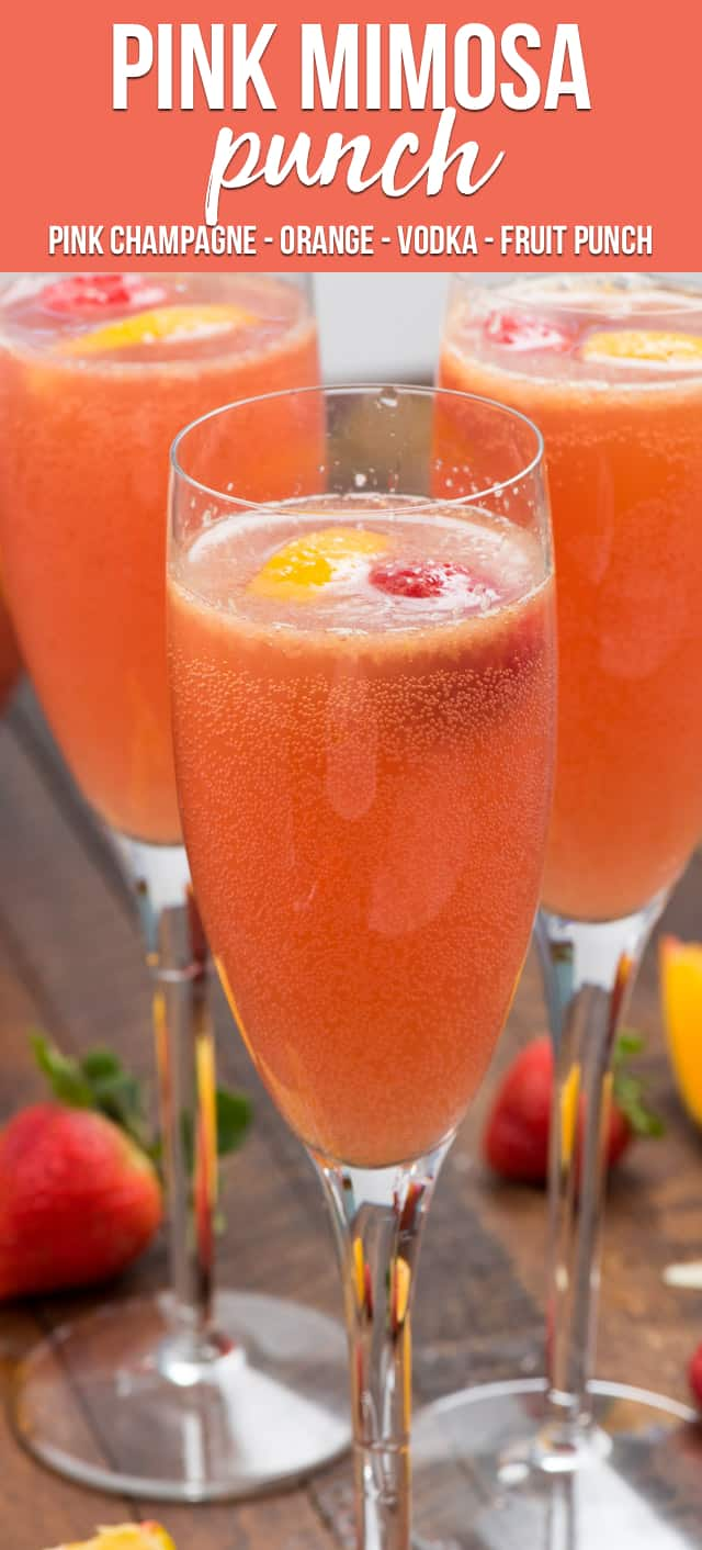 Pink Mimosa Punch is the perfect drink for brunch! Make this easy mimosa recipe for one or make a party punch! Pink champagne is mixed with orange juice, vodka, and fruit punch for the perfect mimosa cocktail!