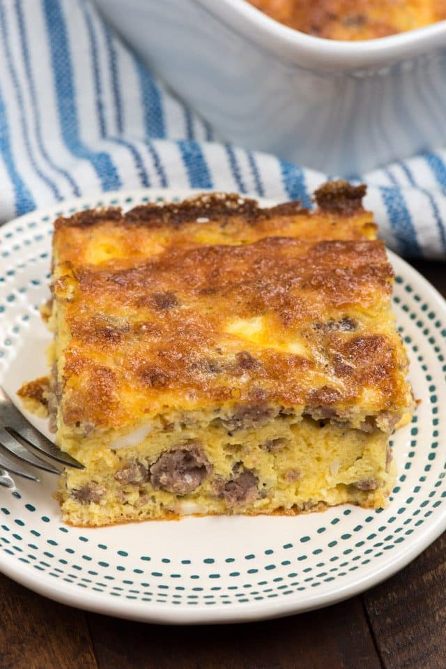 slice of sausage egg casserole on plate
