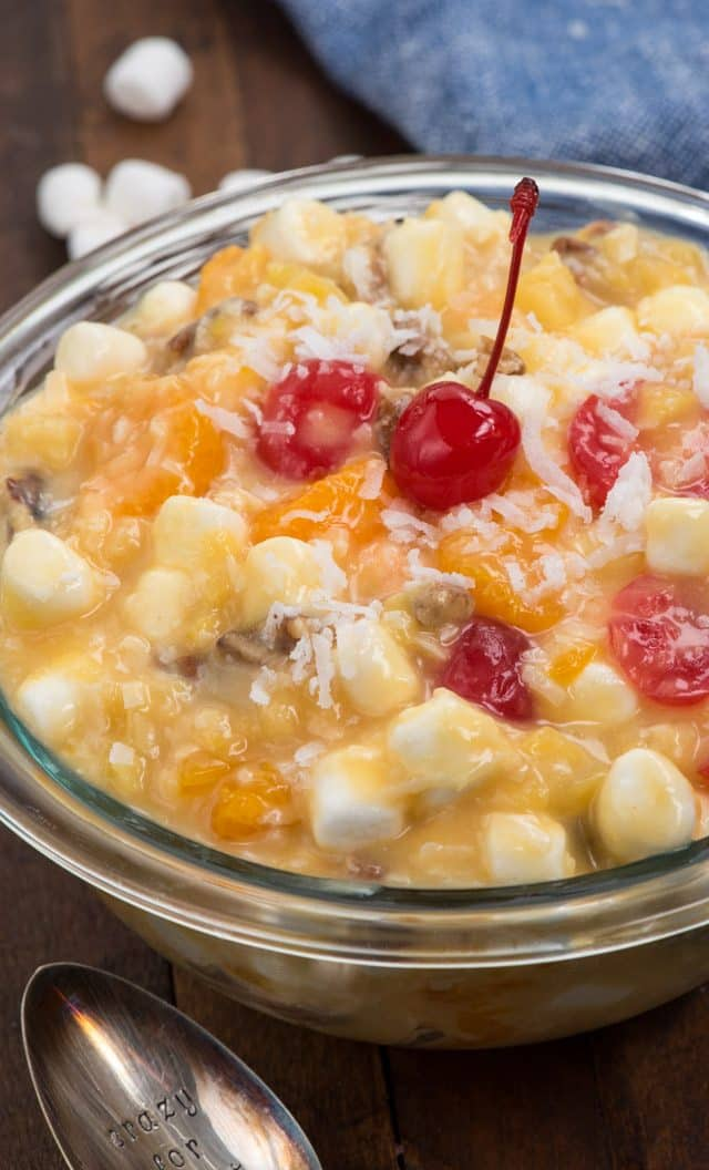 tropical ambrosia salad in bowl