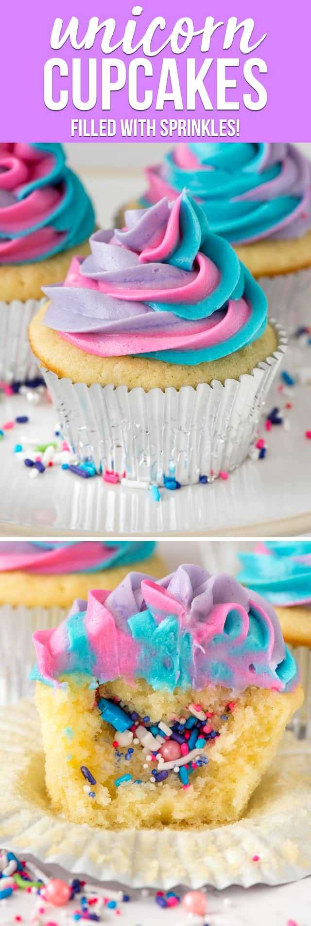 Unicorn Cupcakes are such a fun way to celebrate a birthday! Fill vanilla cupcakes with sprinkles and top with a swirled colorful frosting. Kids and adults will love this easy cupcake recipe!