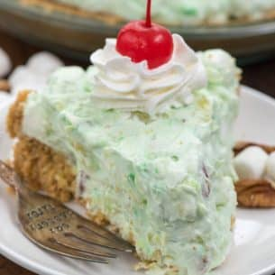 slice of Watergate salad pie on white plate