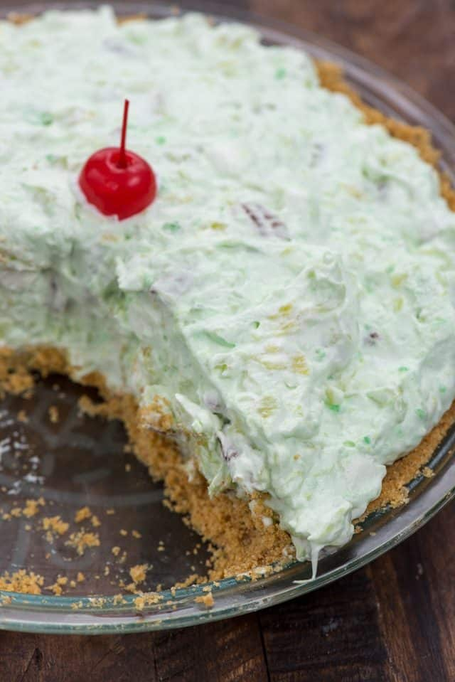 Watergate Salad Pie with slice missing