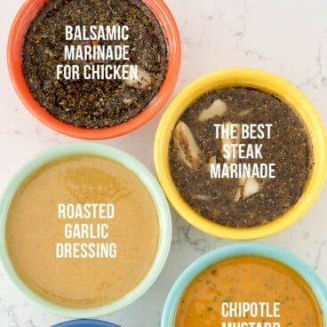 overhead shot of sauces in bowls