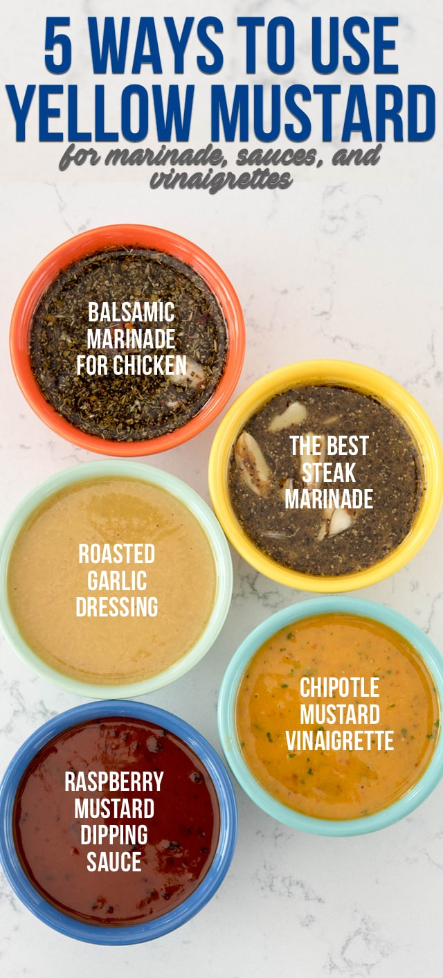 Looking for the perfect chicken marinade or steak marinade? Or maybe a vinaigrette or dipping sauce? Here are 5 easy recipes and ways to use yellow mustard in dipping sauces, dressings, and marinades!