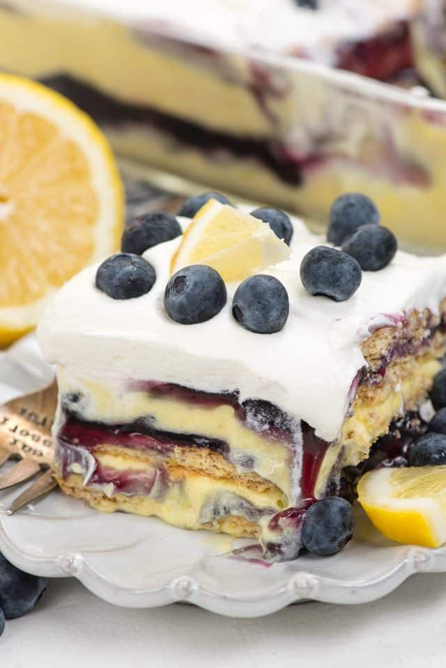 slice of blueberry lemon icebox cake