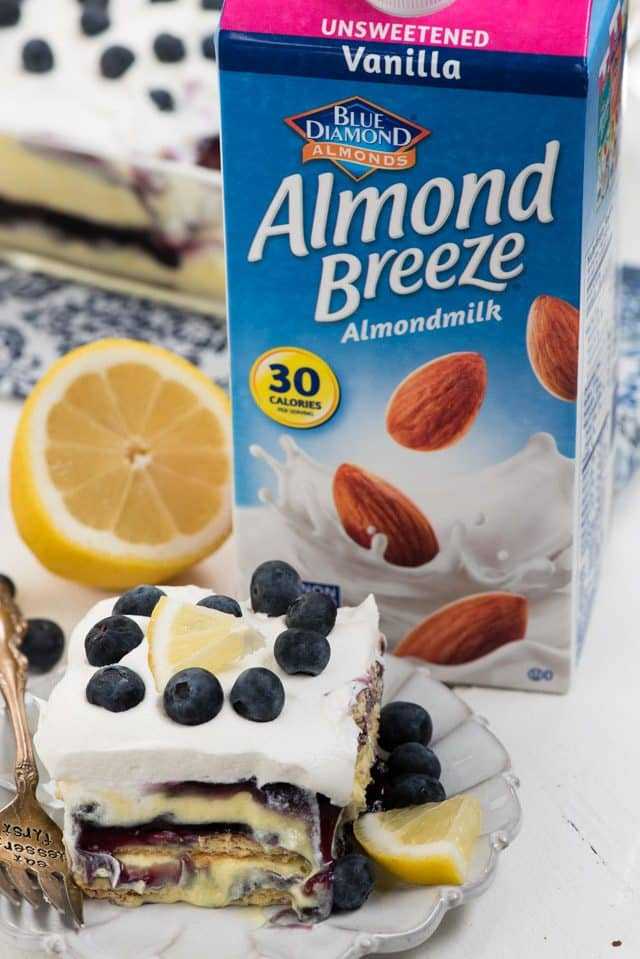 almond breeze with slice of icebox cake