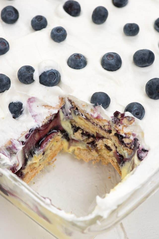 overhead shot of lemon blueberry icebox cake