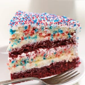 slice of fireworks cake