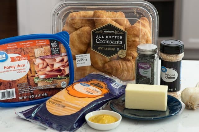 ingredients to make ham and cheese croissant sliders