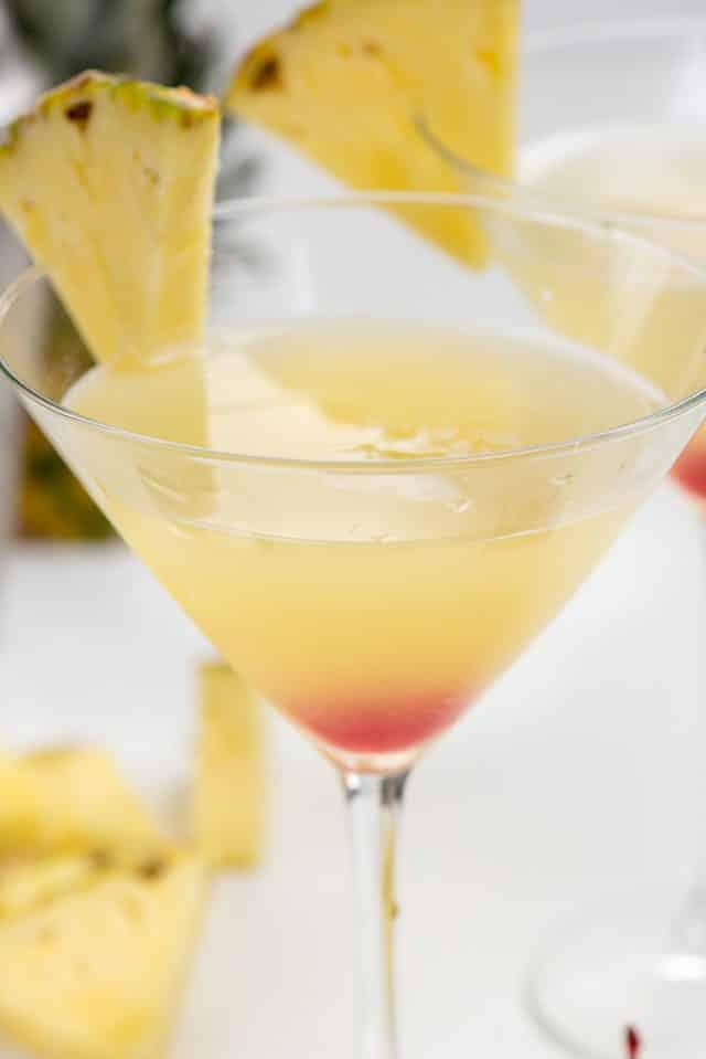 close up on Hawaiian martini in glass