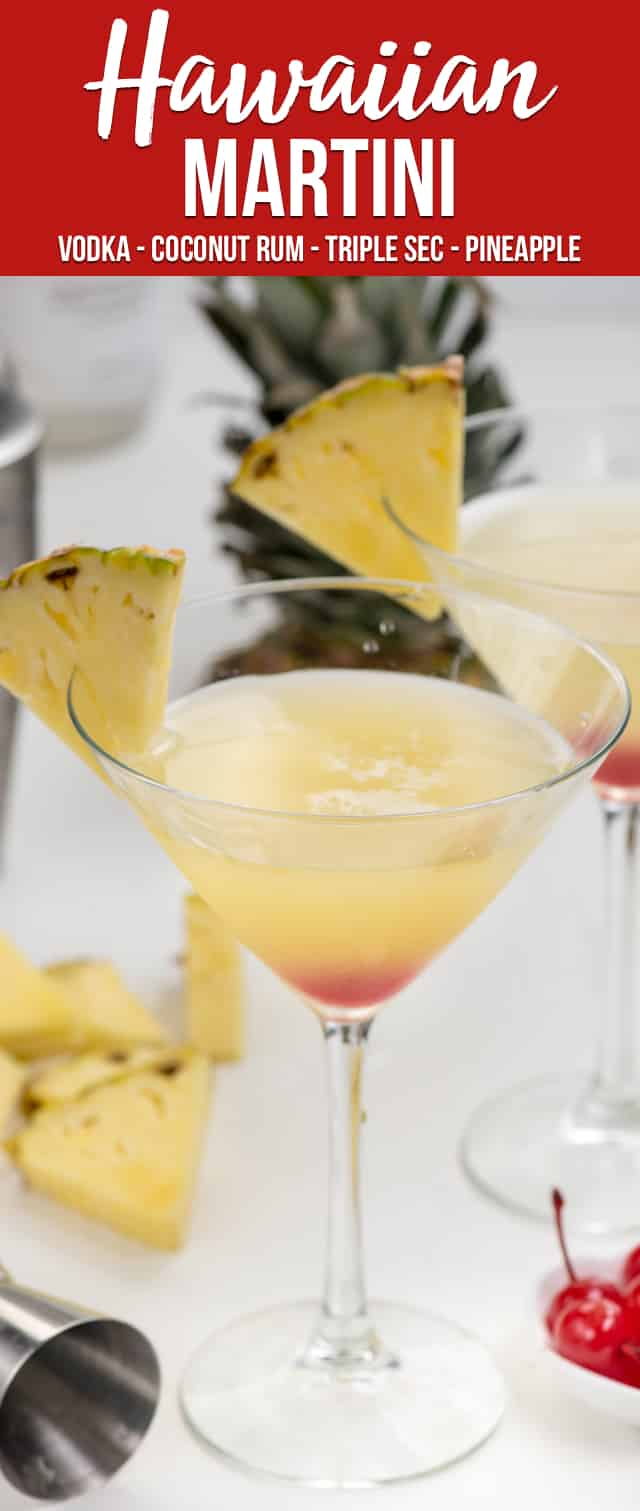 Have a Hawaiian Martini to feel like you're at the beach! This martini recipe has all the flavors of Hawaii: pineapple, orange, and coconut!