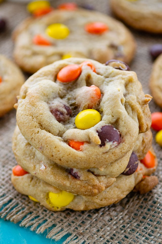 stack of Reeses pieces cookies