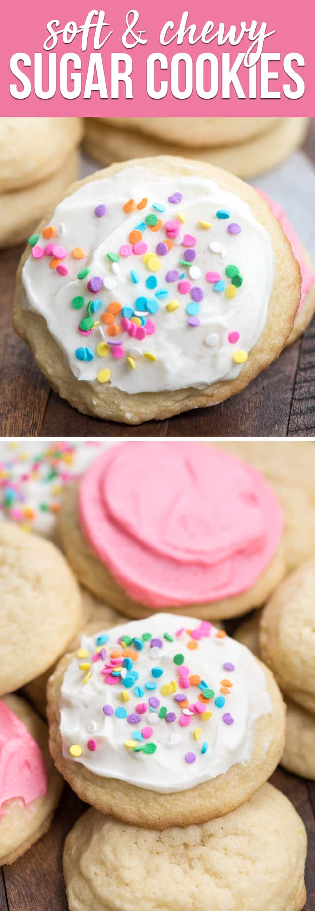This is the BEST soft sugar cookie recipe! These drop sugar cookies are chewy and soft and perfect with or without frosting.