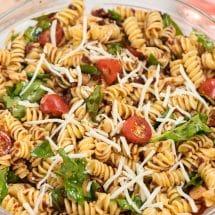 overhead shot of pasta salad in bowl