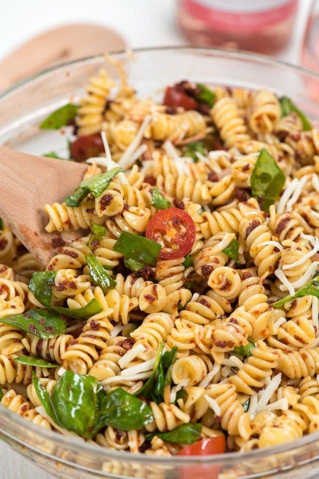 overhead shot of spicy Italian pasta salad