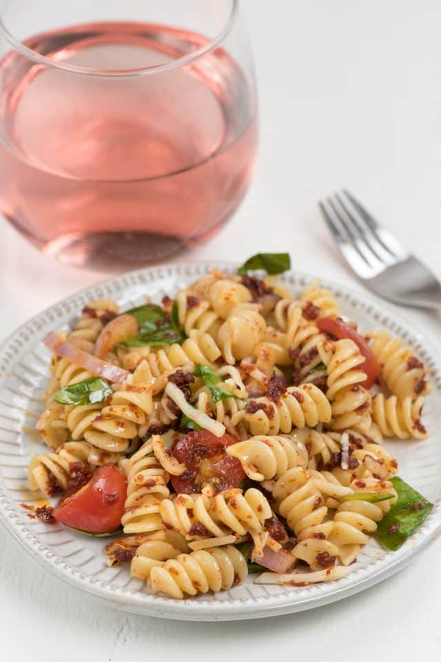 Spicy Italian Pasta Salad on white plate