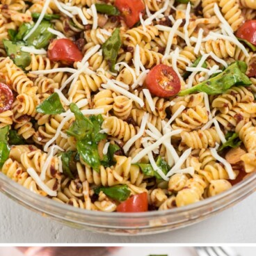 collage photos of spicy Italian pasta salad