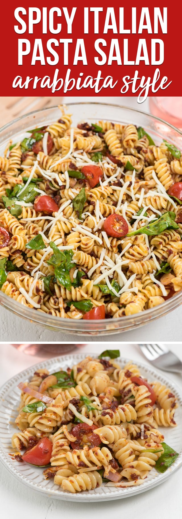 This Spicy Italian Pasta Salad needs to be your go to pasta salad recipe for summer! Coated with a spicy sun-dried tomato pesto, it's the perfect recipe to pair with a sweet wine.