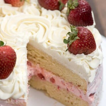 Strawberry Shortcake Layer Cake with missing slice