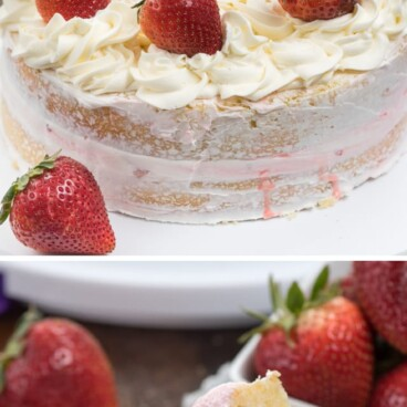 collage of strawberry shortcake layer cake photos