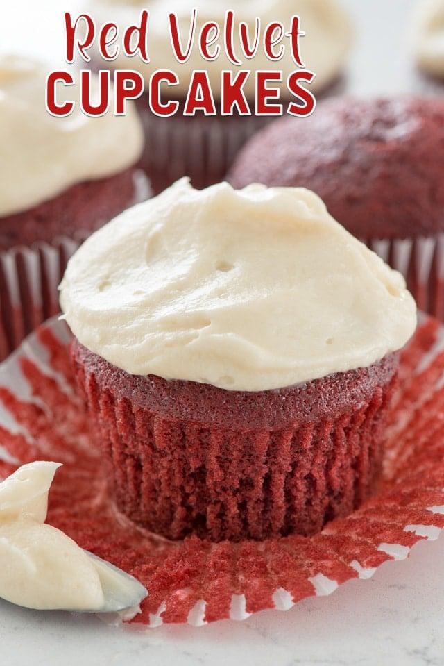 red velvet cupcake on liner