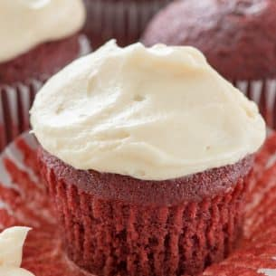 unwrapped red velvet cupcake