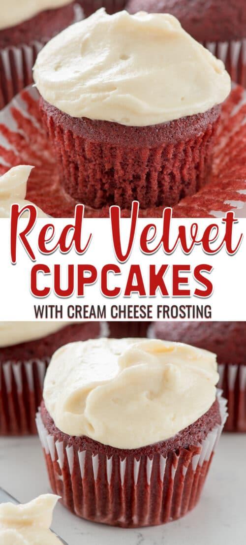 collage of red velvet cupcake recipe photos