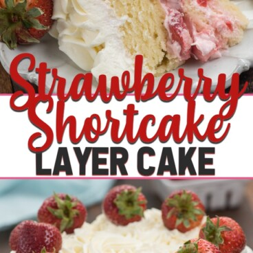 collage photo strawberry shortcake layer cake