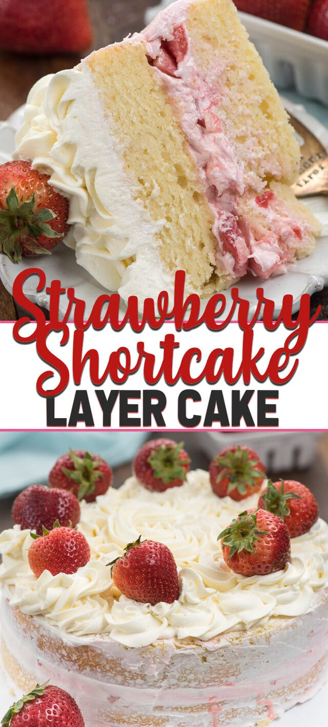 collage photo strawberry shortcake layer cake
