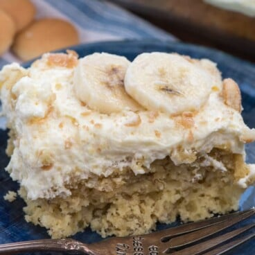 slice of banana pudding cake