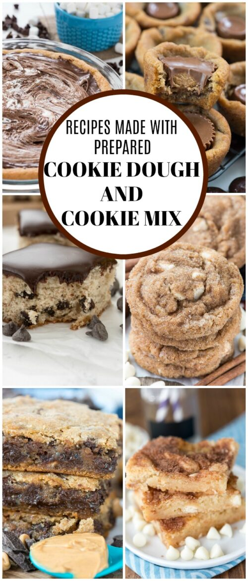 cookie dough and cookie mix recipe collage